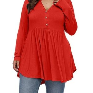 Plus Size Red soft stretchy baby doll top 1x nwt